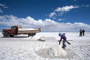 (NYT107) UYUNI, Bolivia -- Feb. 2, 2009 -- BOLIVIA-LITHIUM-7 -- A young girl shovels salt into piles on the Salar de Uyuni (the Uyuni Salt Flats), Bolivia, where the world's largest lithium reserves are found, in late January, 2009.  In the rush to build the next generation of hybrid or electric cars, a sobering fact confronts both automakers and governments seeking to lower their reliance on foreign oil: almost half of the world's lithium, the mineral needed to power the vehicles, is found here in Bolivia - a country that may not be willing to surrender it so easily. (Noah Friedman-Rudovsky/The New York Times)